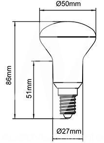 costo lampadina h : Lampadina LED E14 5 W 830 - Lampadina R-50 dimensioni